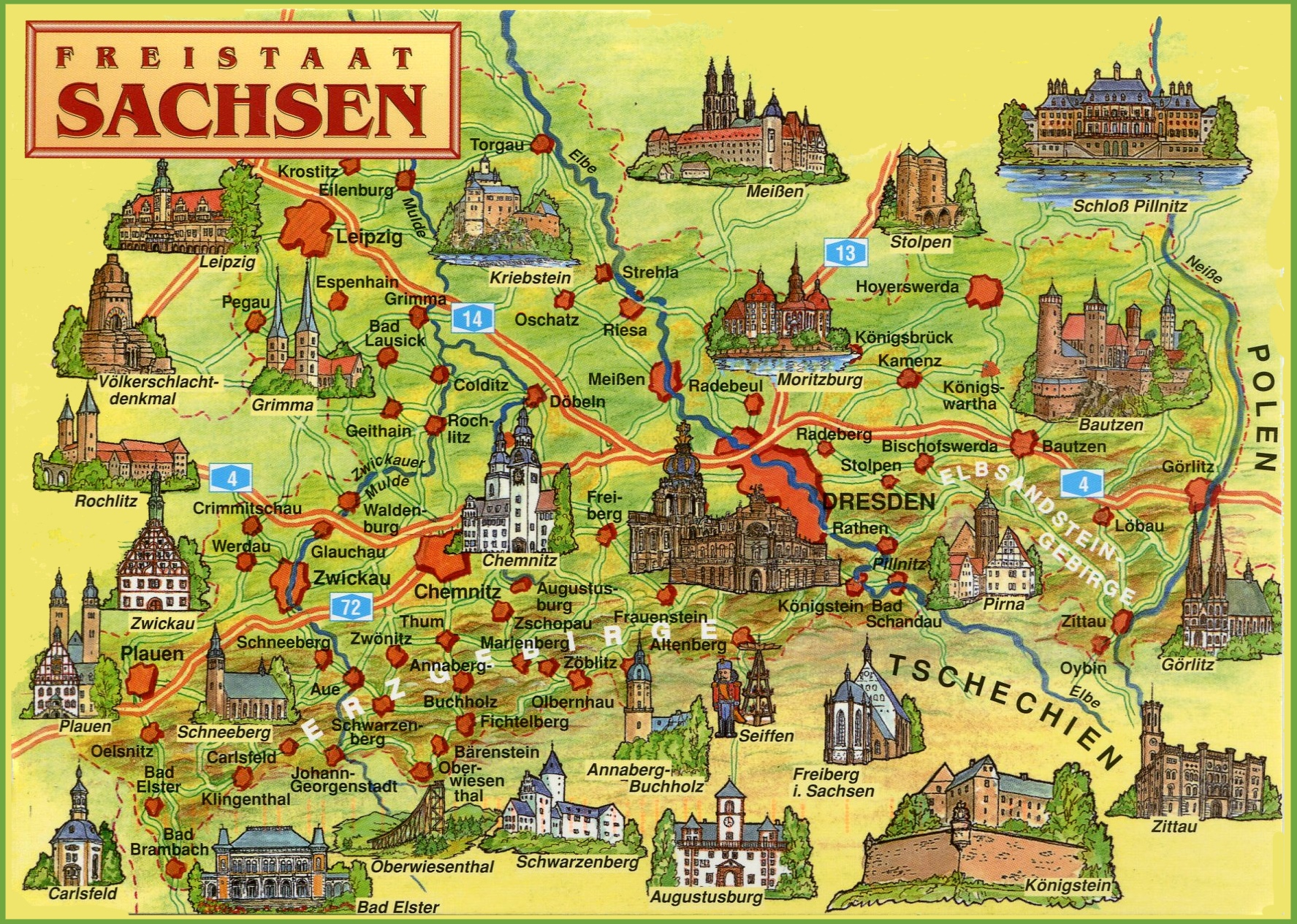 Saxony Tourist Map - Germany map cartoon