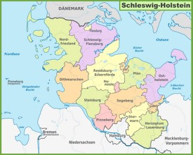 Administrative divisions map of Schleswig-Holstein