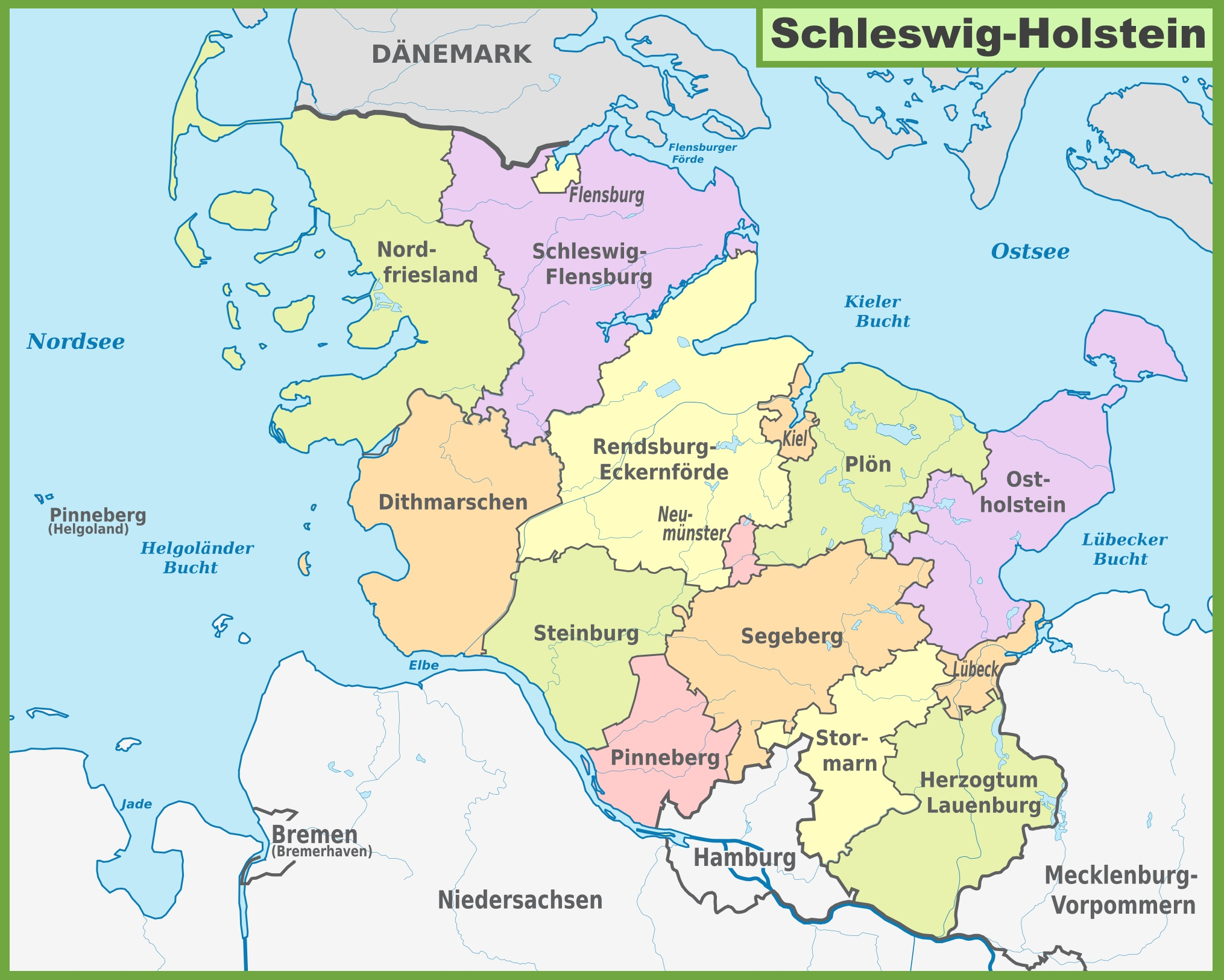 administrative divisions map of schleswig holstein