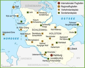 Map of airports in Schleswig-Holstein