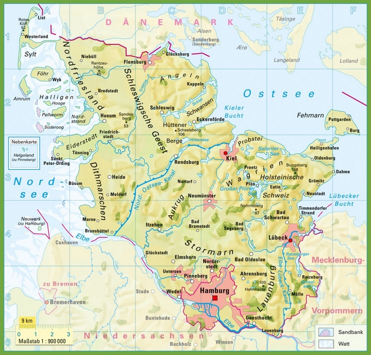 Geographical Map Of Germany.Schleswig Holstein Physical Map