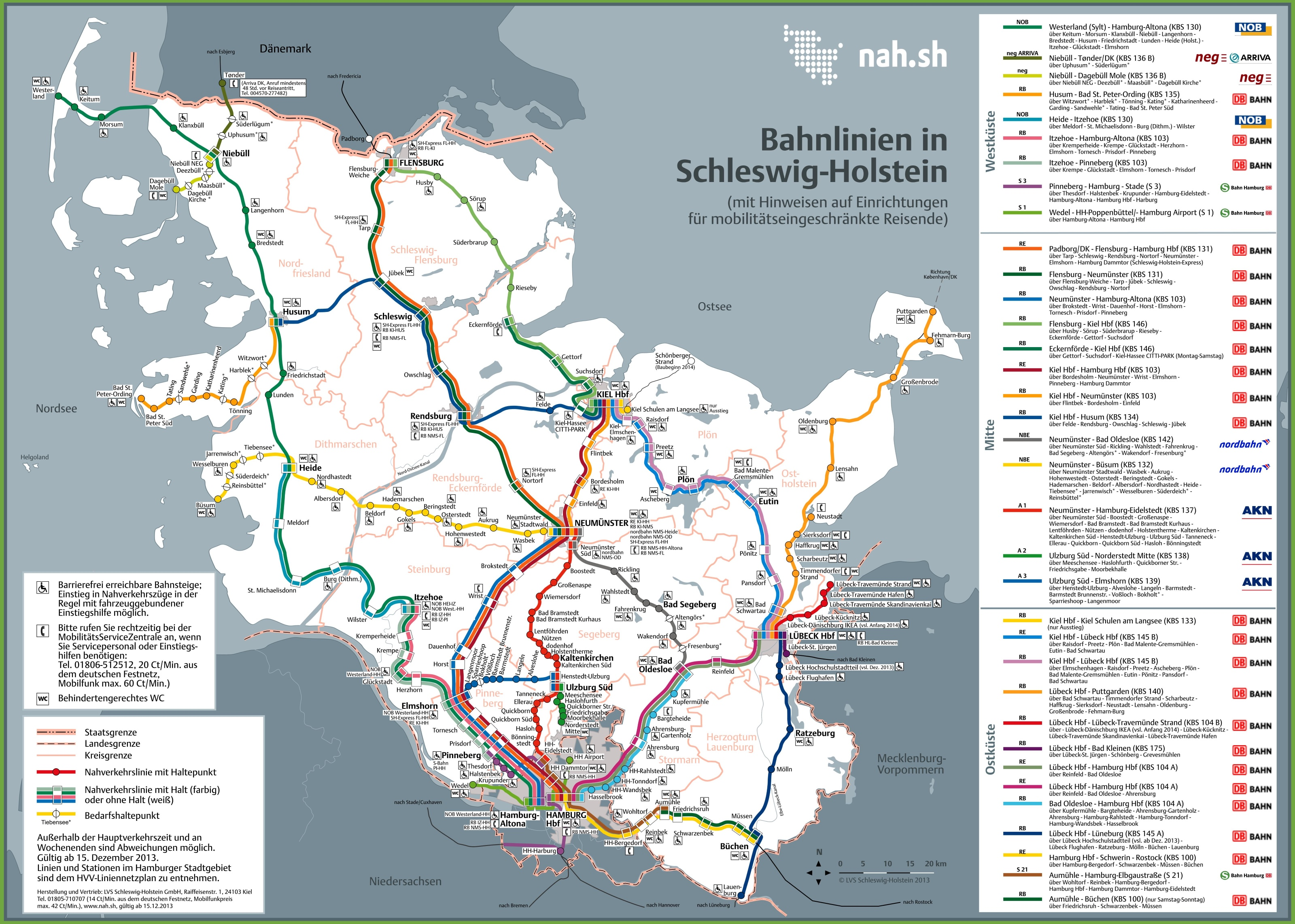 Schleswig-Holstein railway map on
