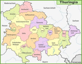Administrative divisions map of Thuringia