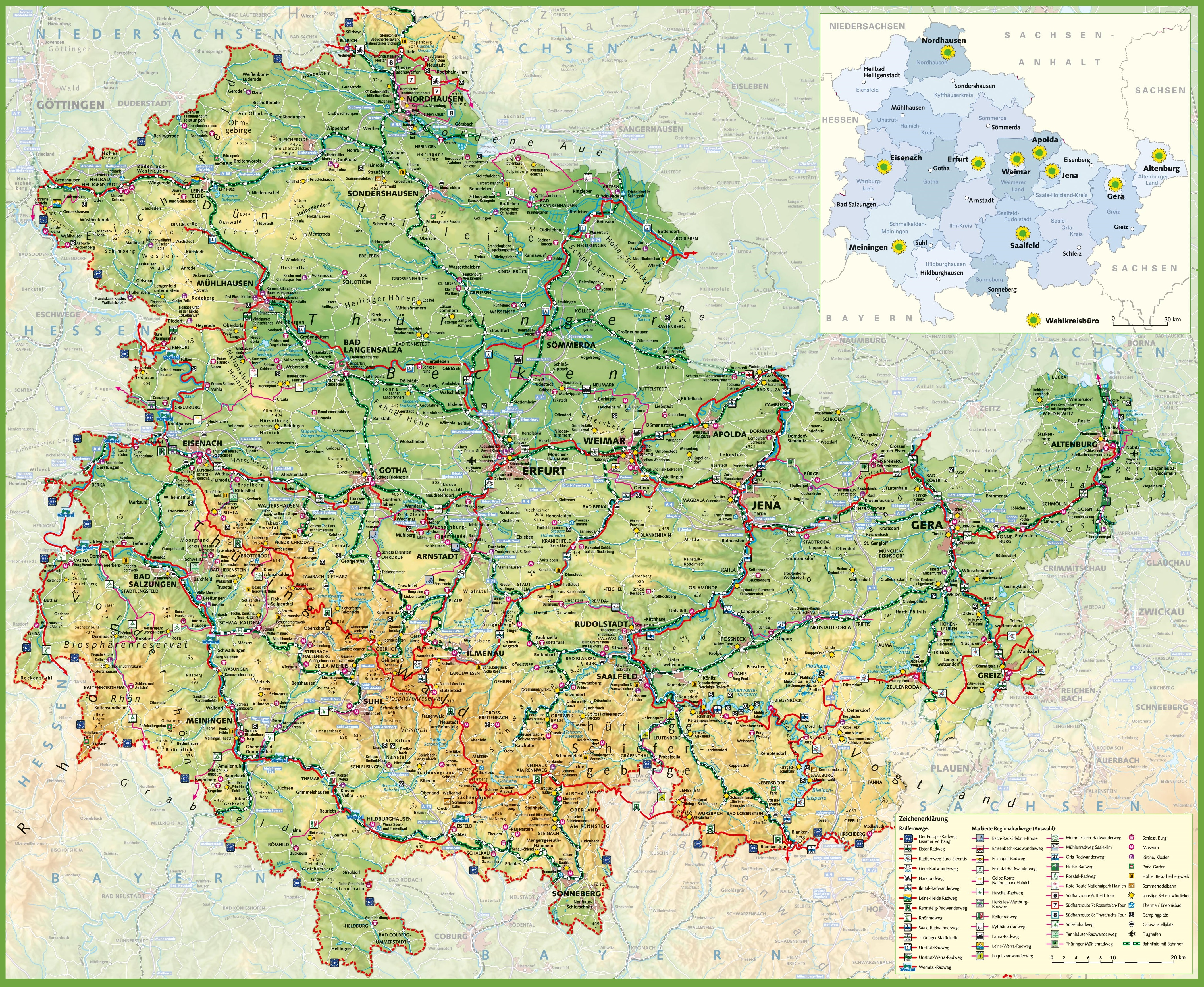 Large detailed map of Thuringia