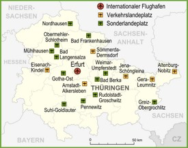 Map of airports in Thuringia