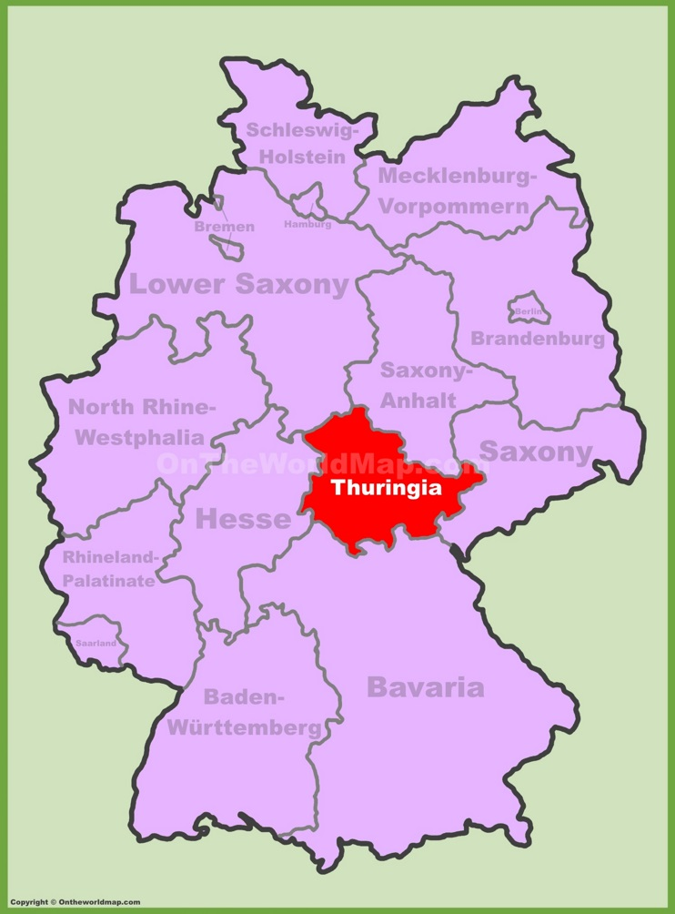 Thuringia location on the Germany map