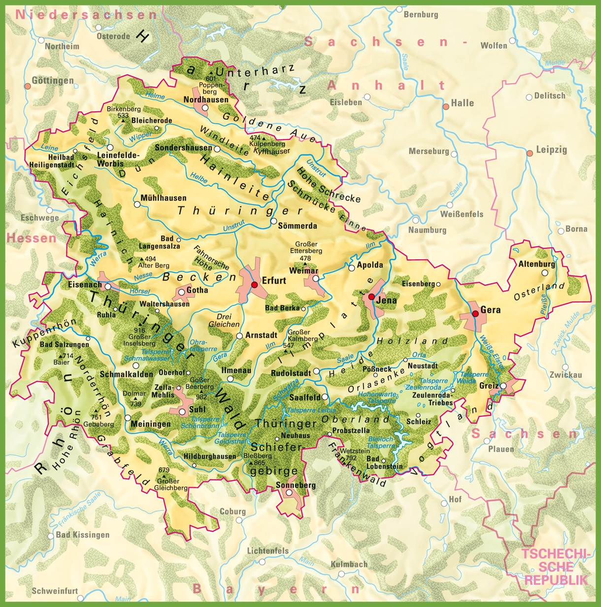 Thuringia physical map