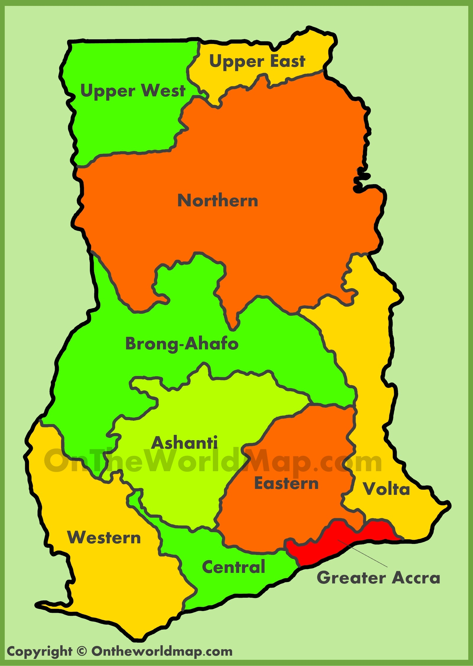 Administrative map of Ghana
