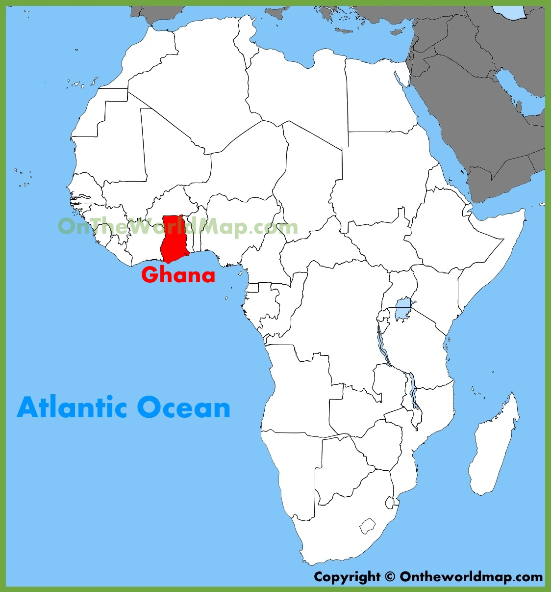 Ghana On A World Map.Ghana Location On The Africa Map