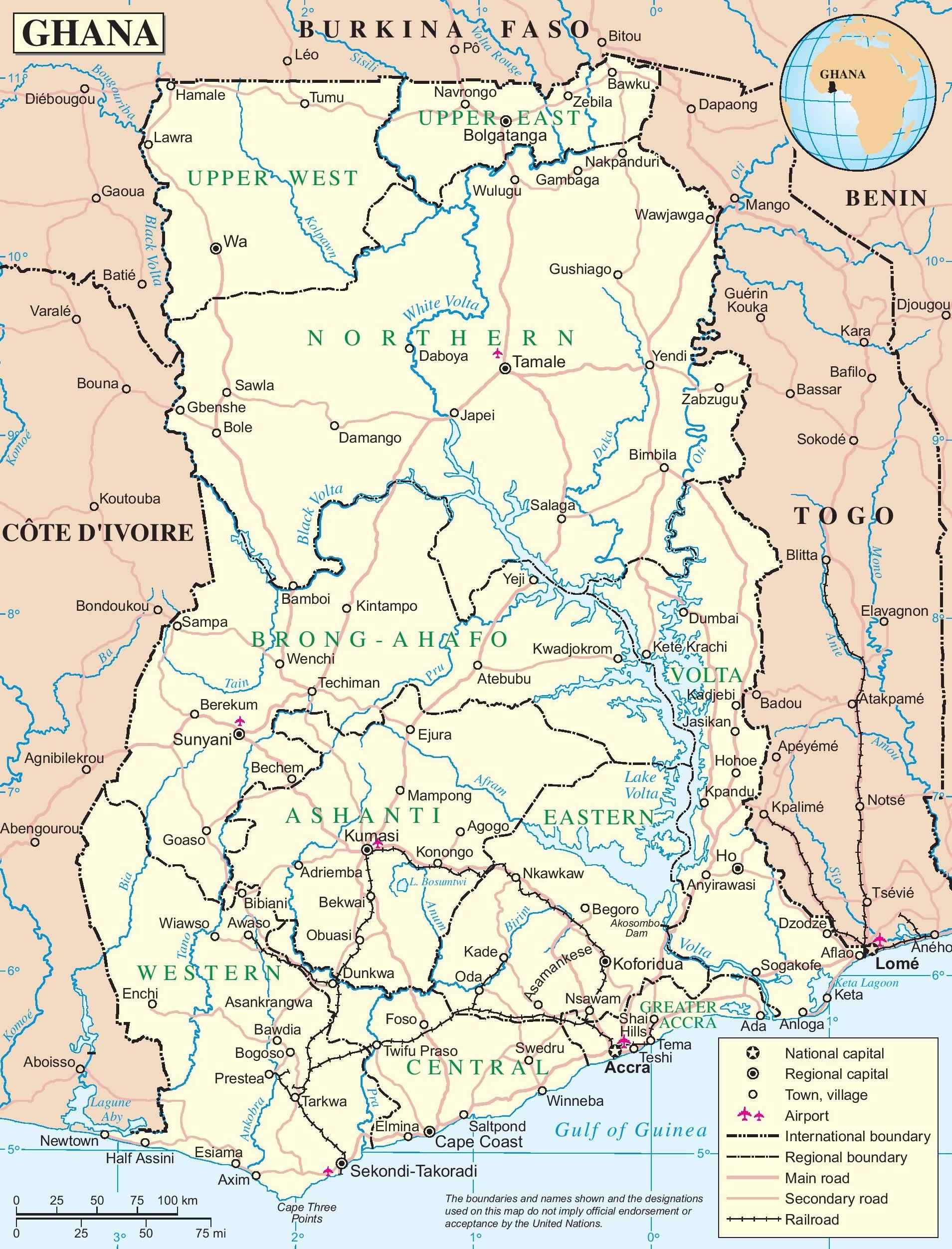 Ghana Map Roads Ghana road map