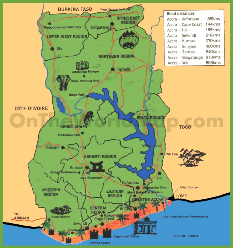 Tourist map of Ghana