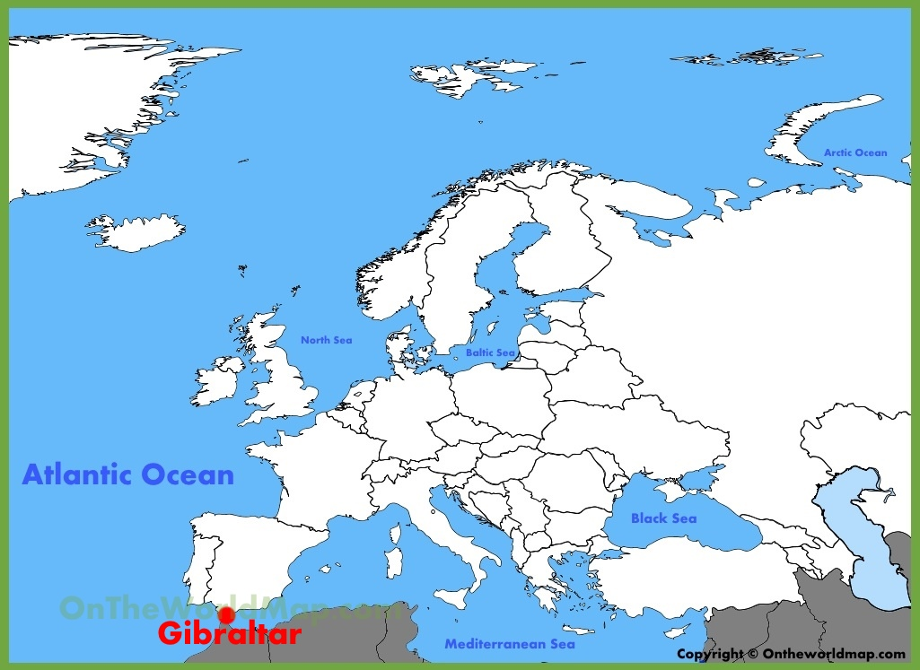 Gibraltar location on the Europe map