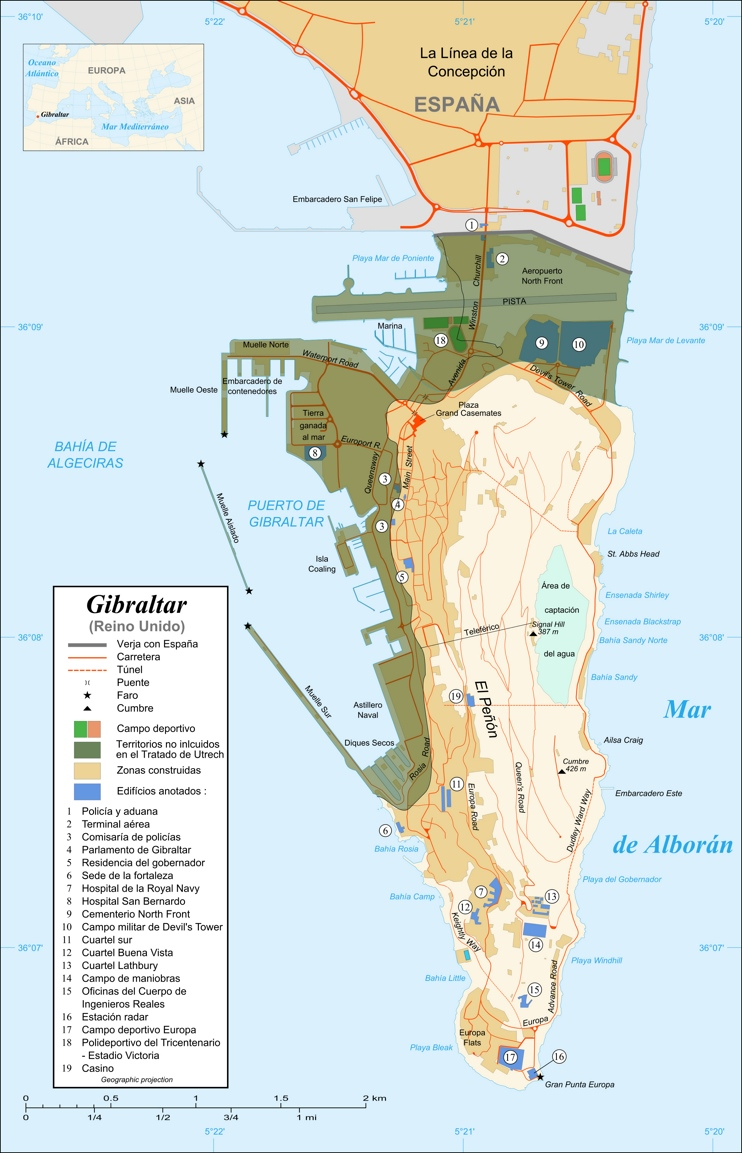 Large detailed Gibraltar tourist map