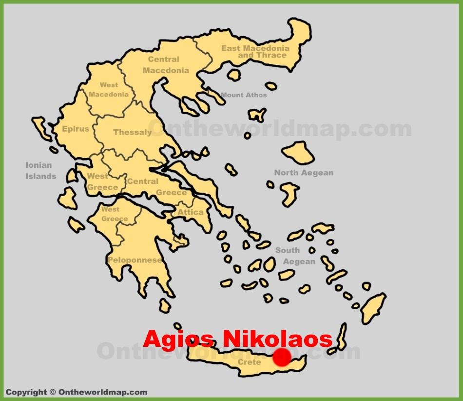 Agios Nikolaos location on the Greece map