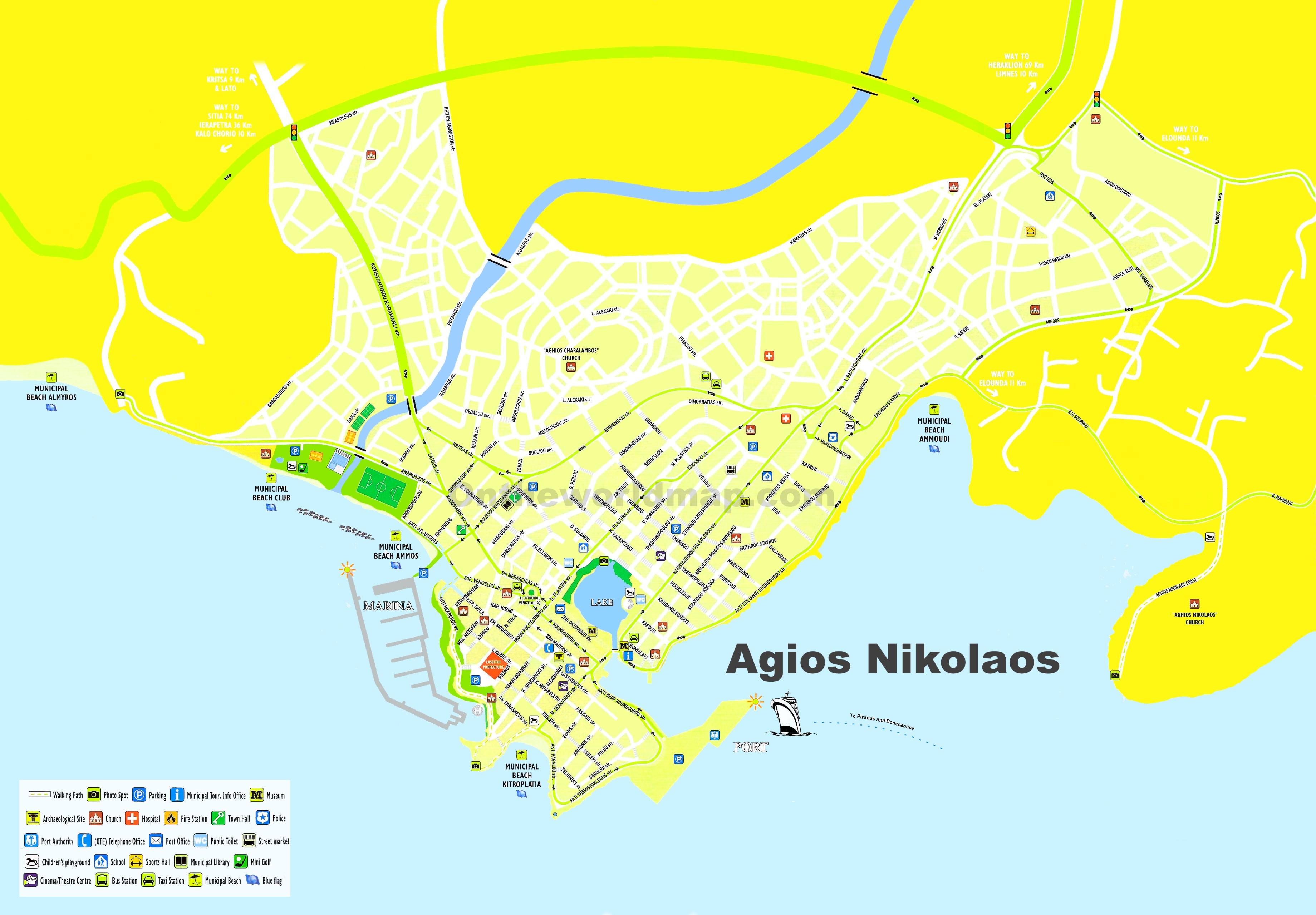 Agios Nikolaos Maps Crete Greece Maps of Agios Nikolaos
