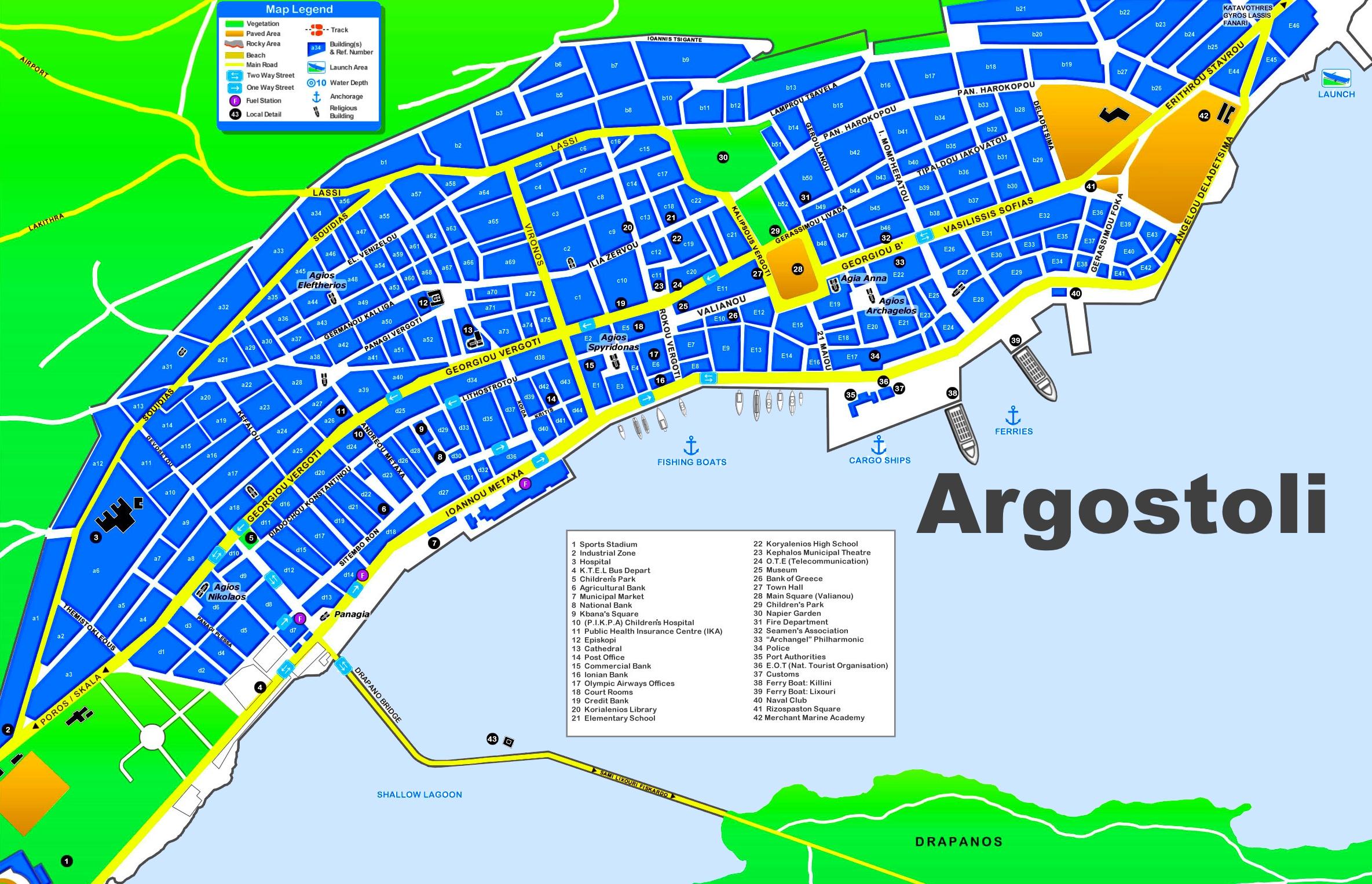 Argostoli Tourist Map