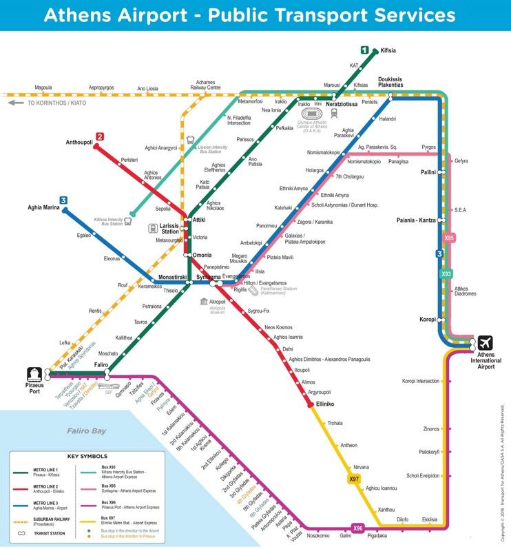 Athens airport public transport map