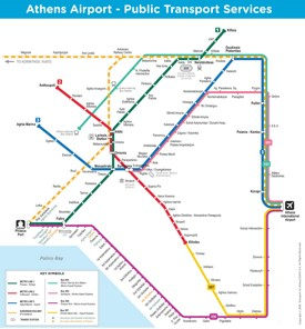 Athens airport public transport map