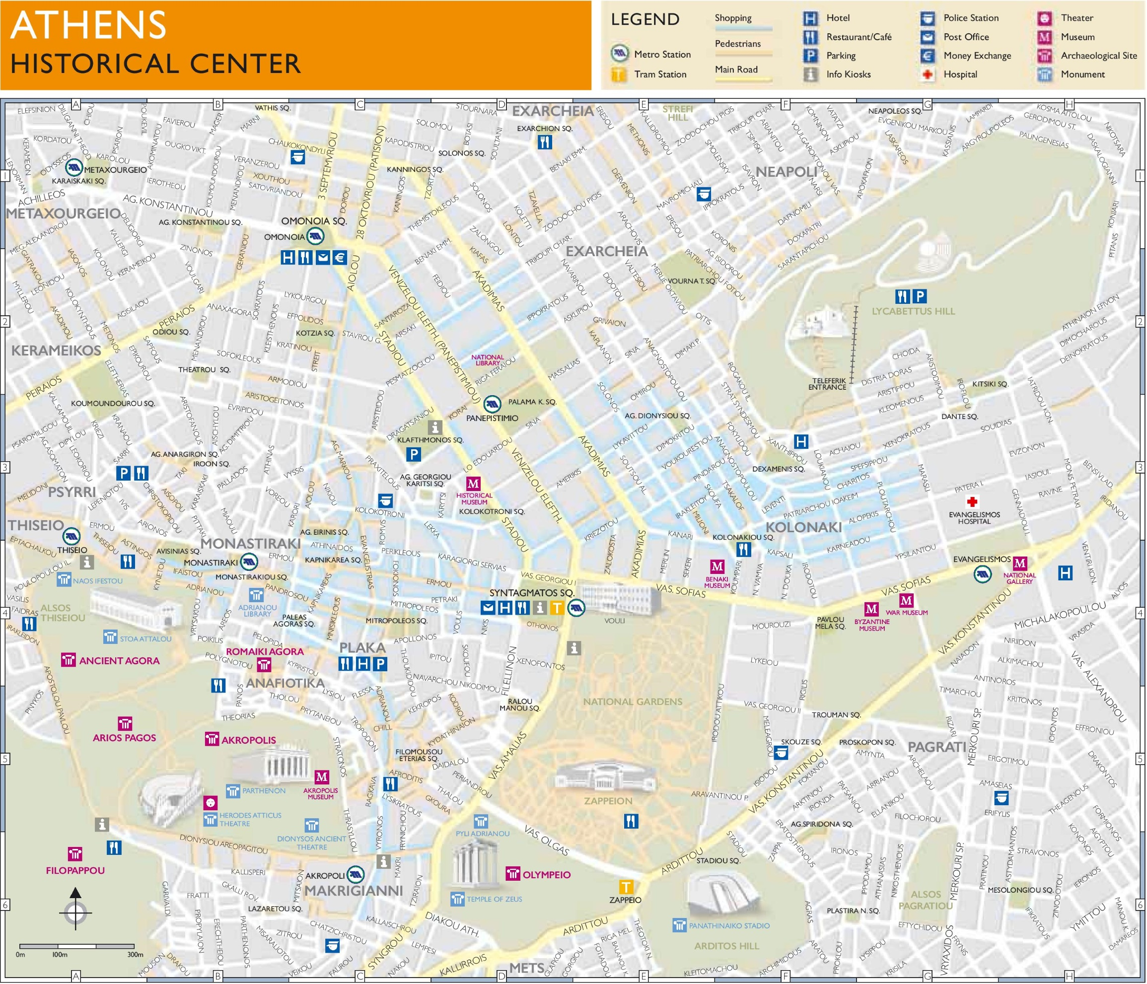 Athens historical center map