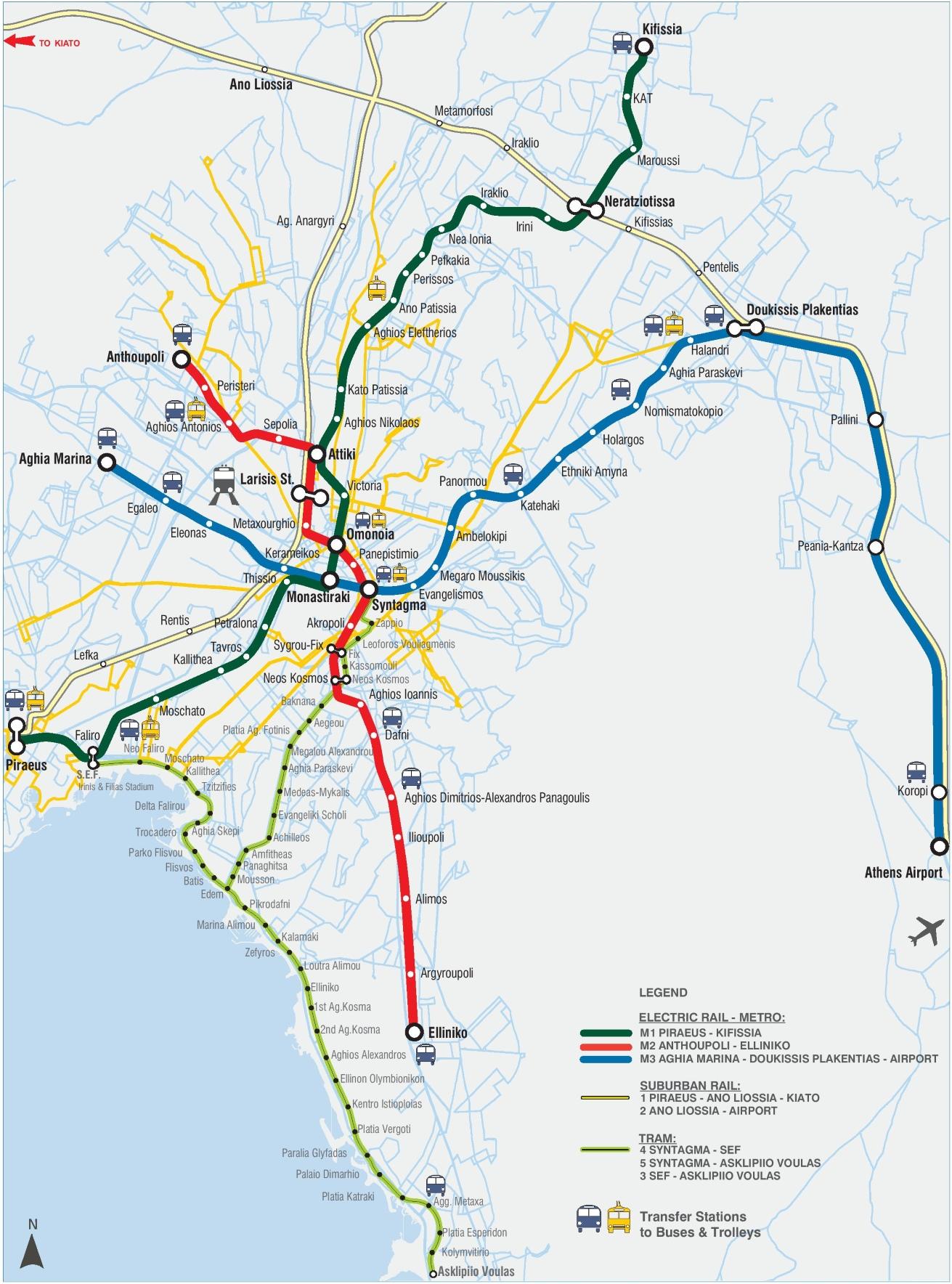 Printable Metro Map.Athens Metro Map