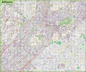 Large detailed map of Athens