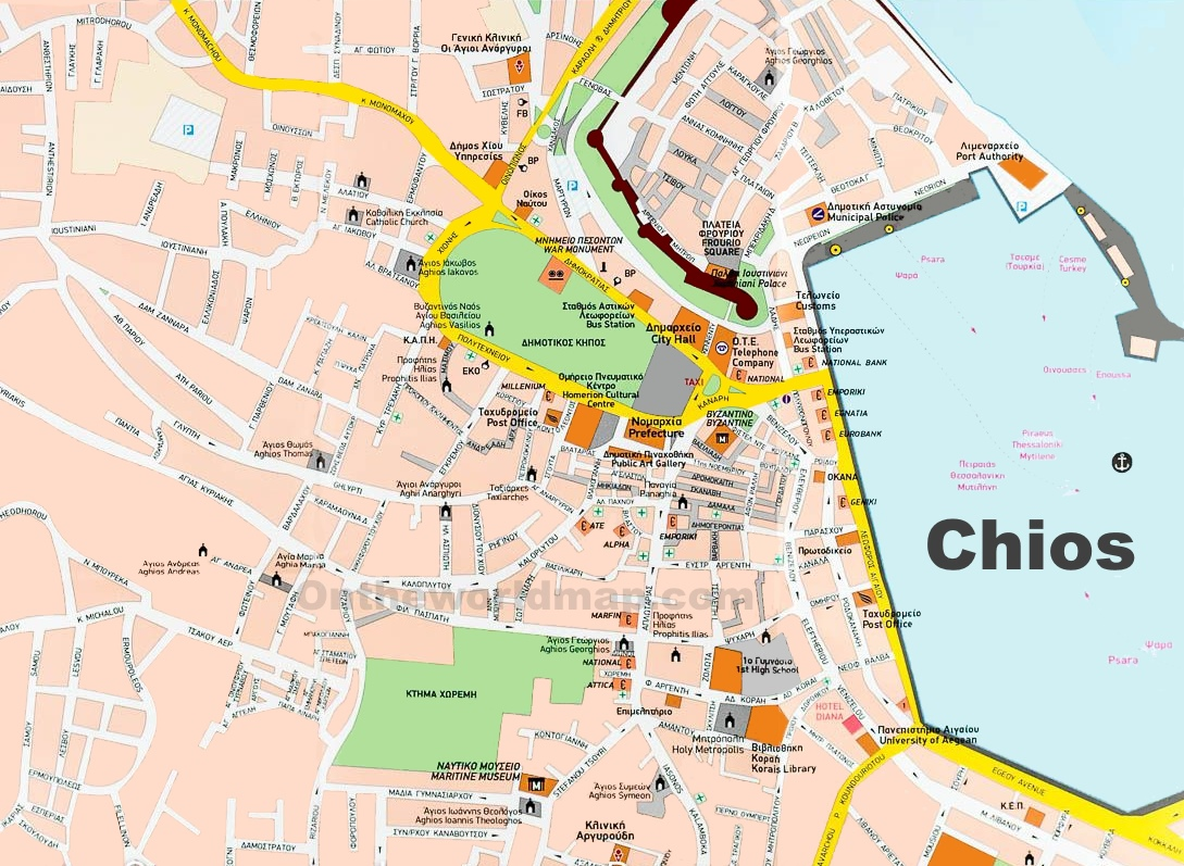 Chios Town Maps Greece Maps of Chios Town