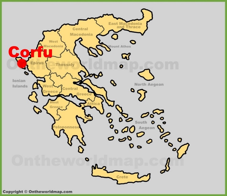 Corfu City location on the Greece map