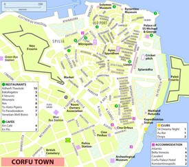 Corfu City sightseeing map
