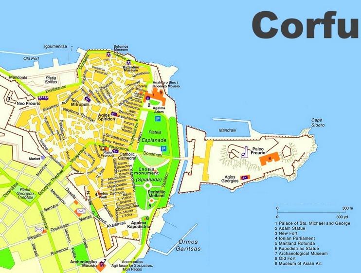 Corfu City tourist map