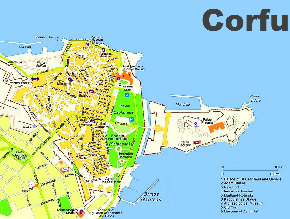 Corfu City Maps Greece Maps of Corfu City Kerkyra