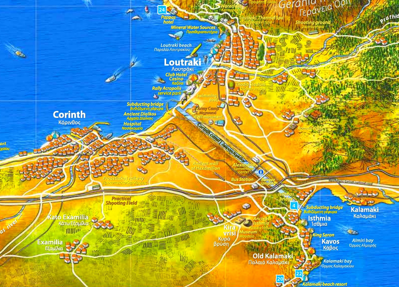 Map Of Corinth Corinth Canal tourist map