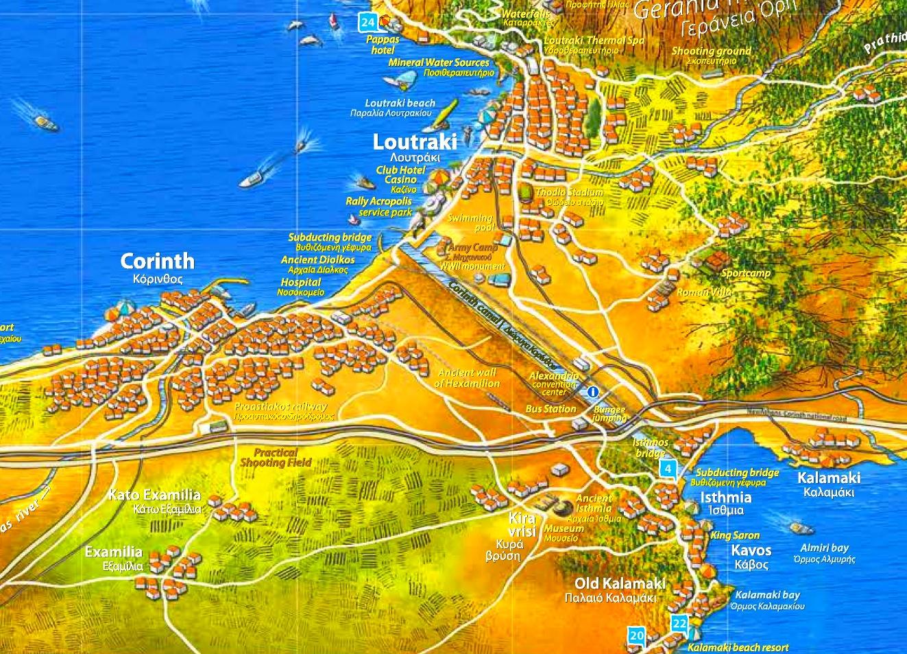 Corinth Canal tourist map