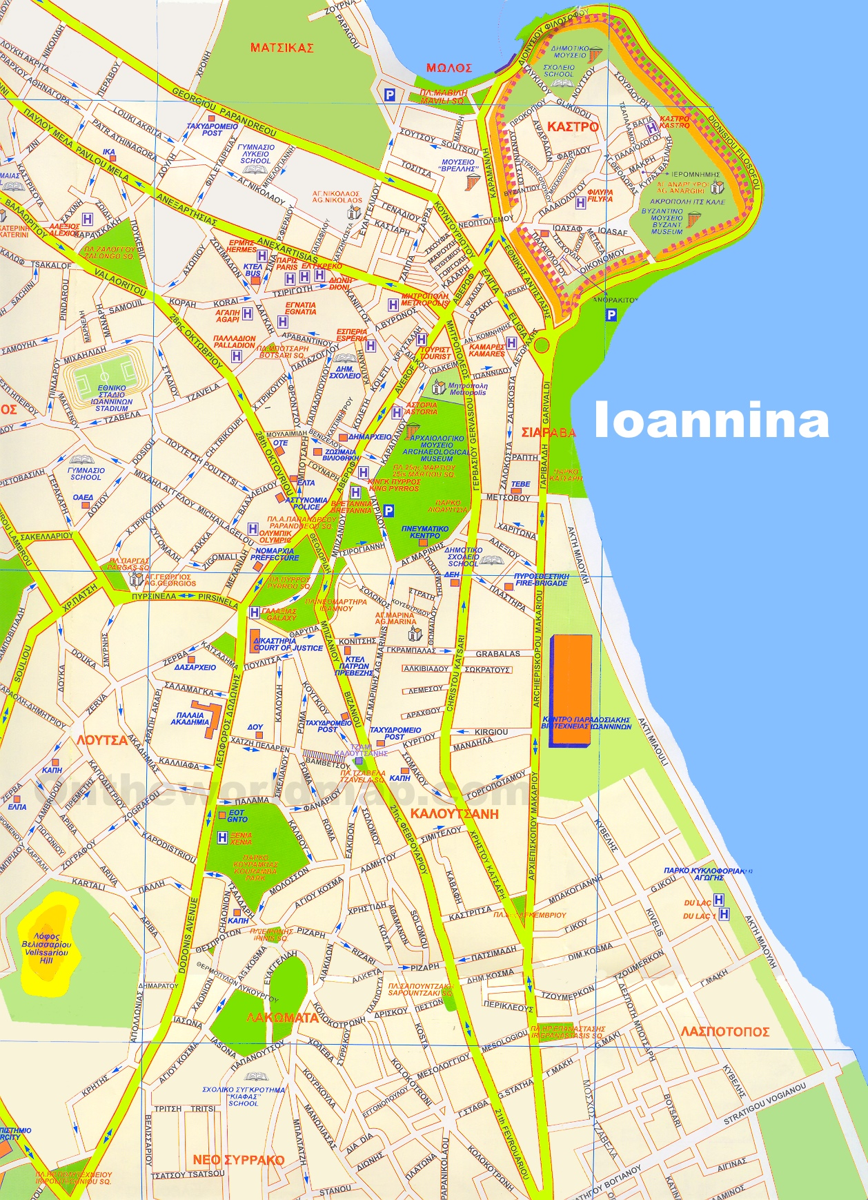 Ioannina hotels and sightseeings map