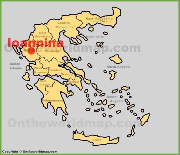 Ioannina location on the Greece map