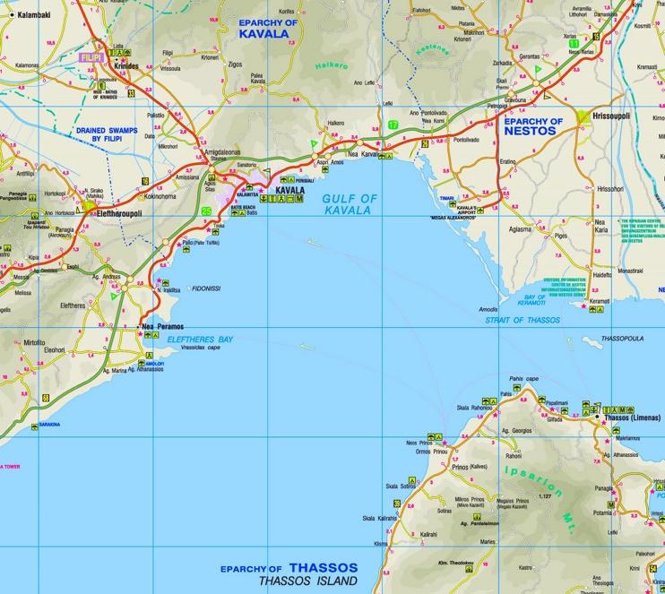 Kavala area map