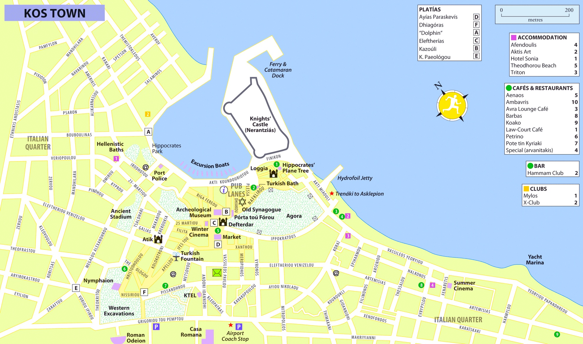 Kos City hotels and sightseeings map