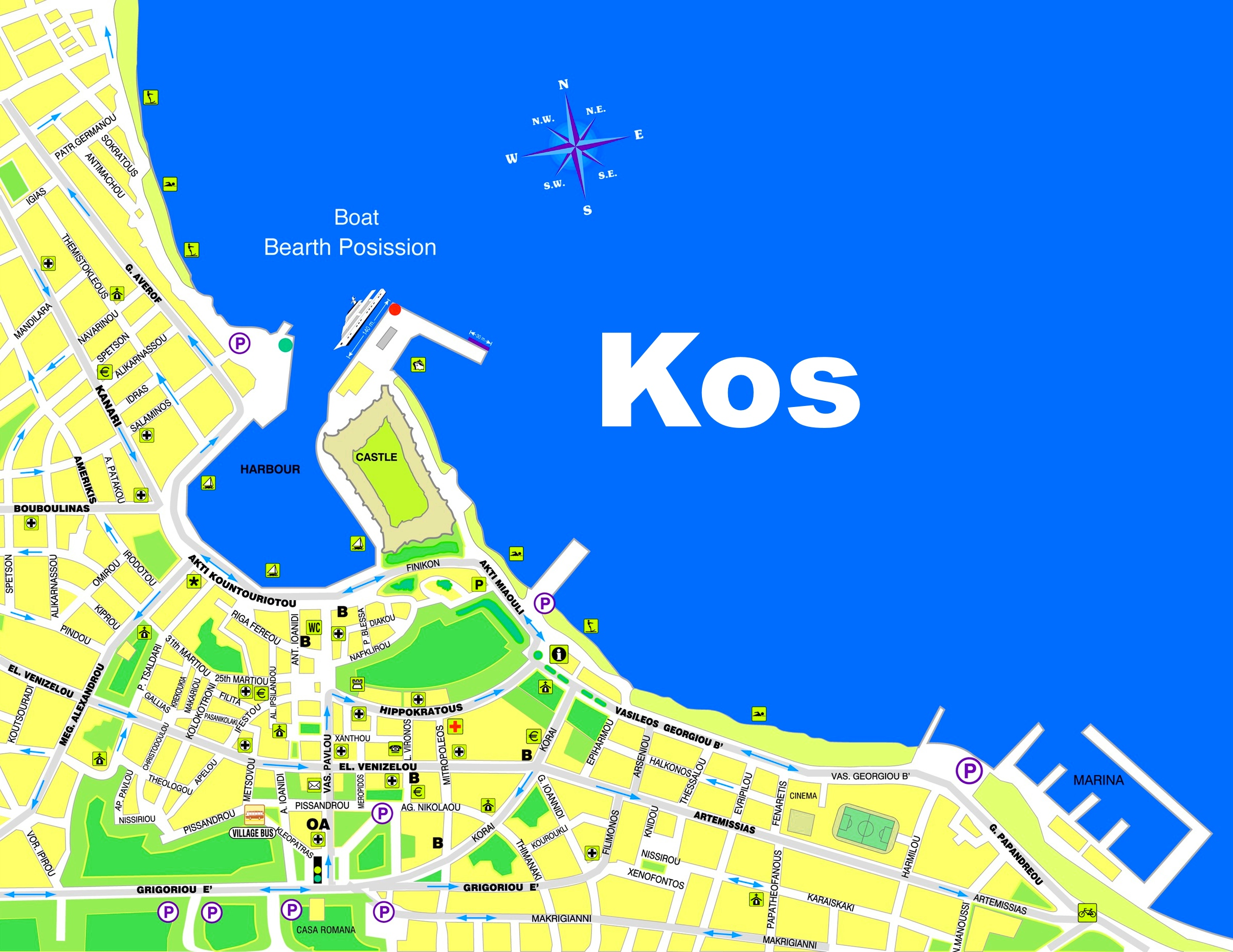 Kos old town map