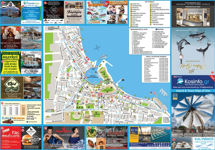 Kos City tourist attractions map