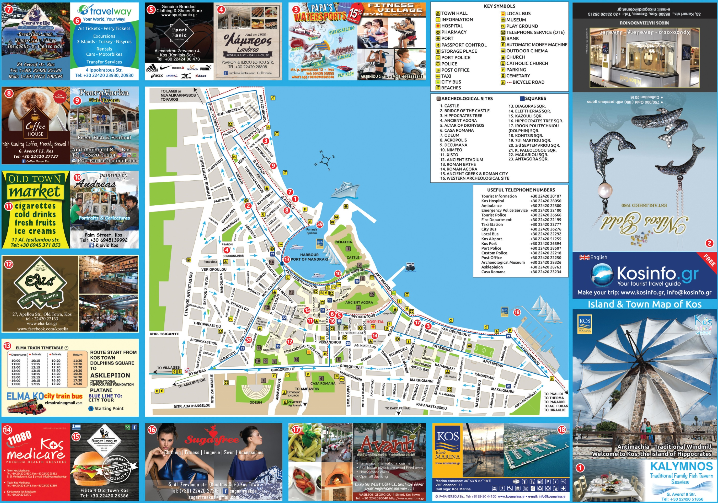 Kos city tourist attractions map kos city tourist attractions map gumiabroncs Choice Image