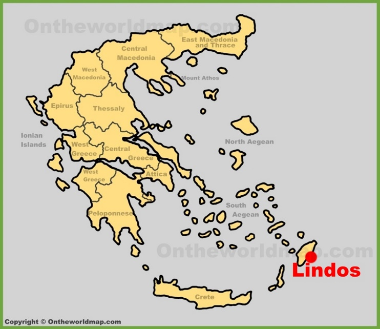 Lindos location on the Greece map