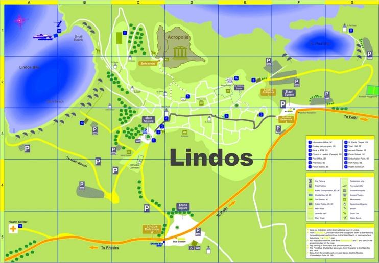 Lindos tourist map
