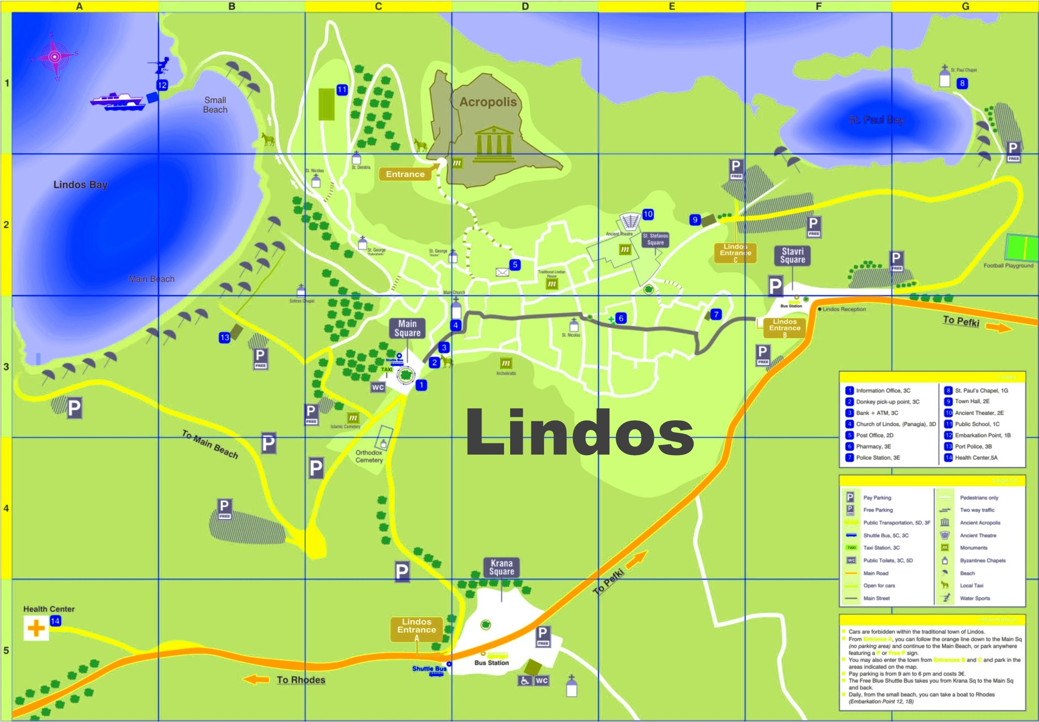 Lindos tourist map