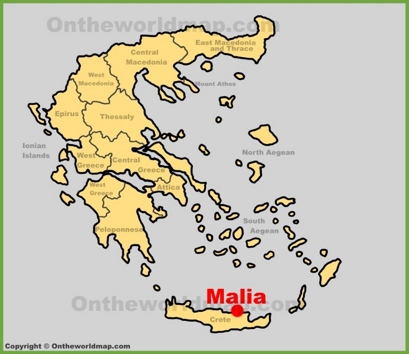 Malia Location Map