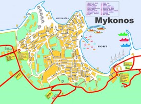 Mykonos Town tourist map