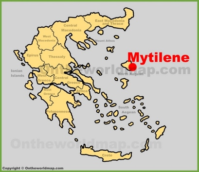Mytilene Location Map