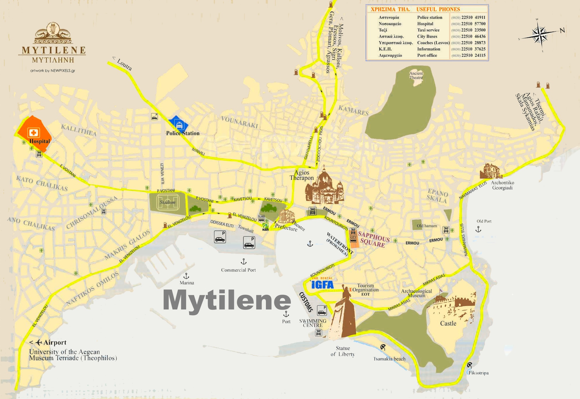 Mytilene tourist map
