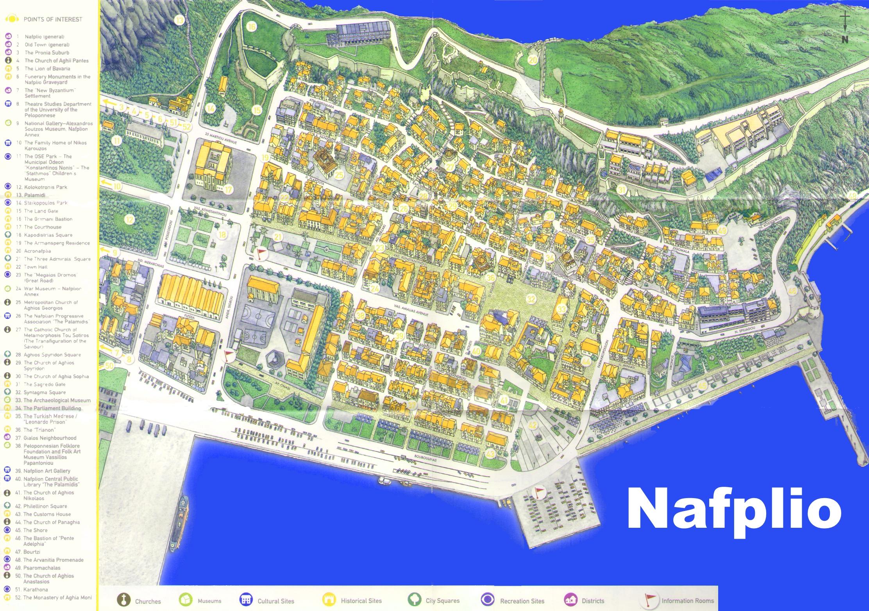 Nafplio old town map