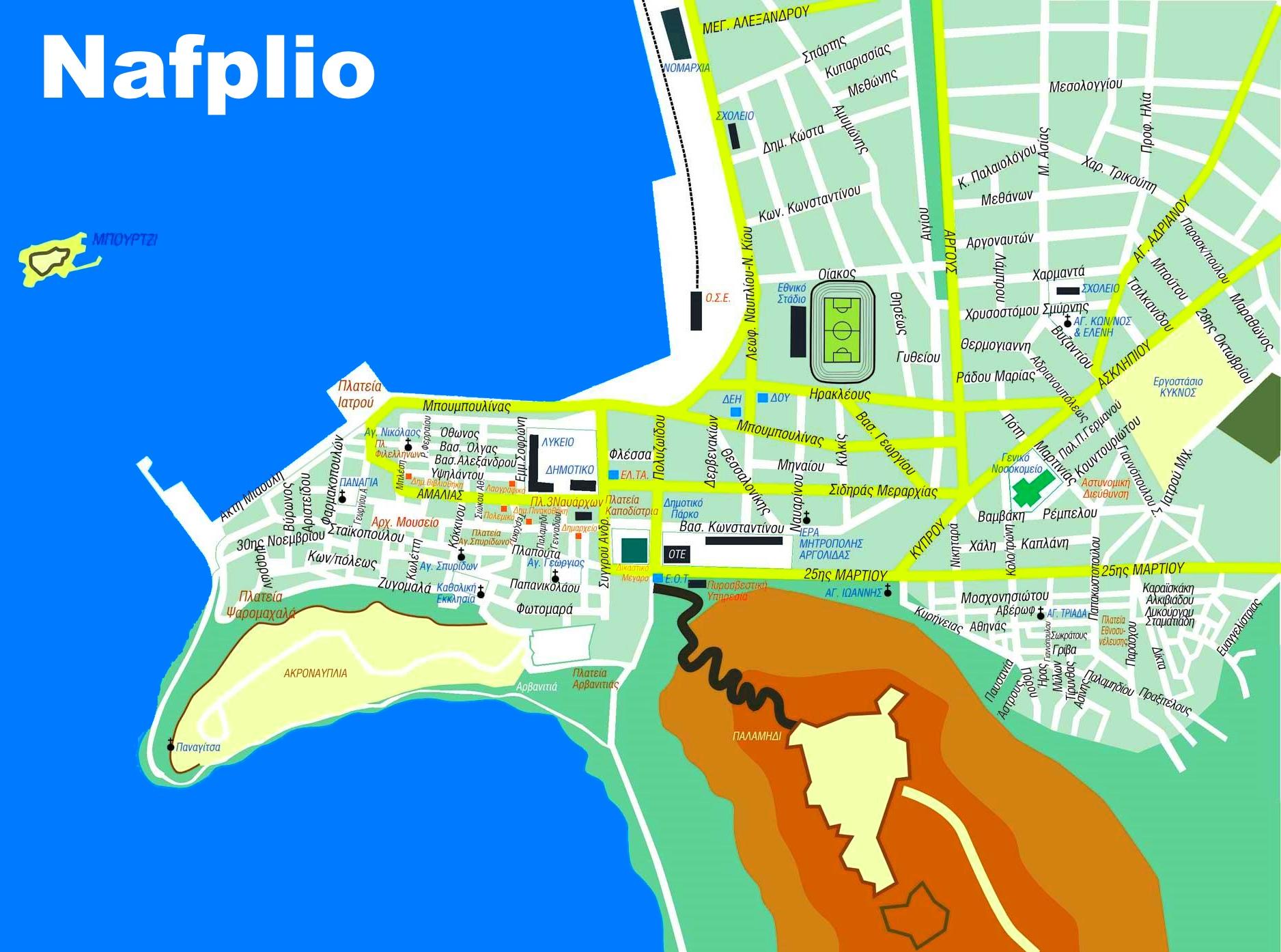 Nafplio Maps Greece Maps Of Nafplio