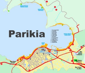 Parikia hotels and sightseeings map