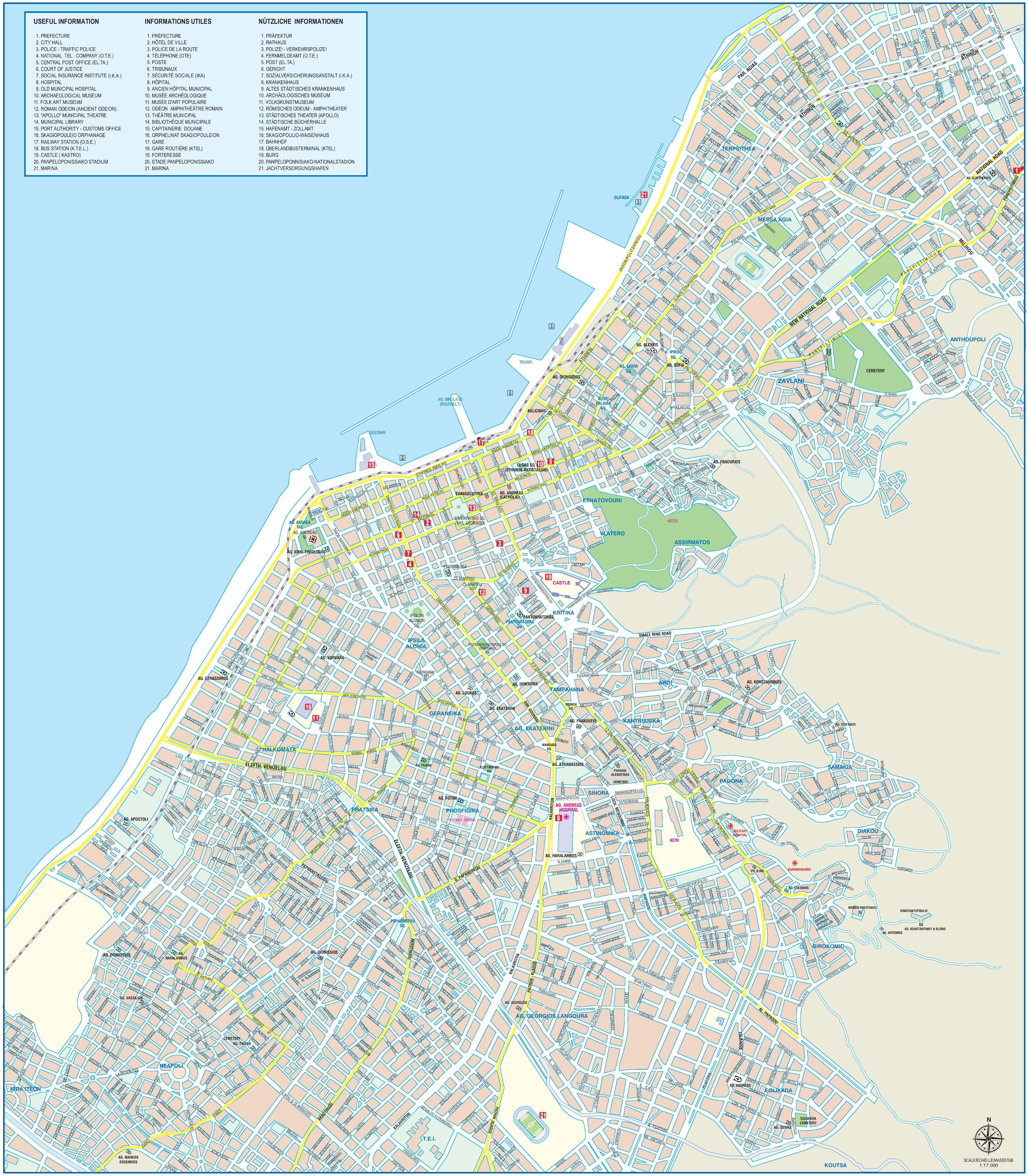 Patras tourist map